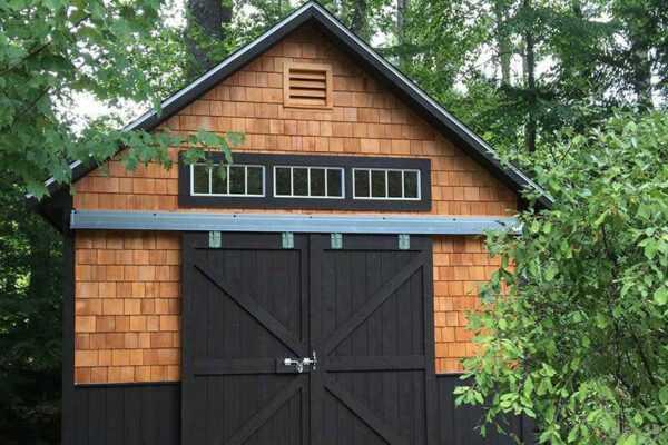 12X16 Cohasset with cedar shingle and vertical cedar siding